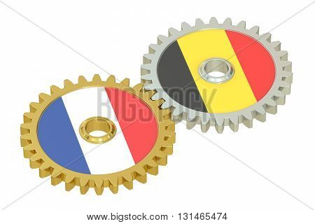 France and Belgium relations concept flags on a gears. 3D rendering isolated on white background