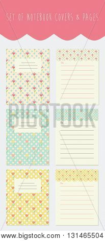 Set of notebook covers and pages with floral background and place for text. Vector notepad cover.