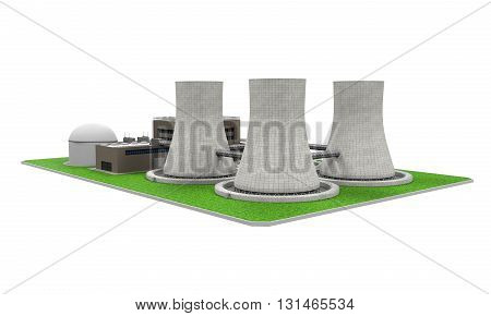 Nuclear Power Plant isolated on white background. 3D render