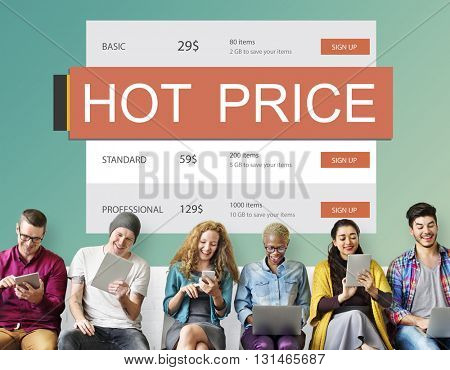 E-Commerce Sale Hot Price Discount Deal Concept