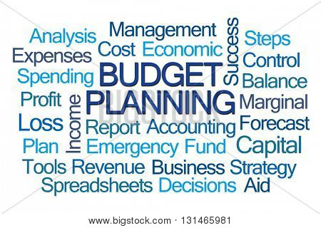 budget Planning Word Cloud on White Background