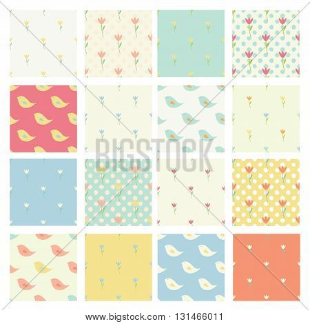 Set of seamless cute childish patterns in bright pastel colors, kids wallpaper - floral patterns, Easter patterns, bird patterns. Seamless background.
