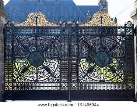 Carved gate in front of the Peace Palace in the Hague Netherlands