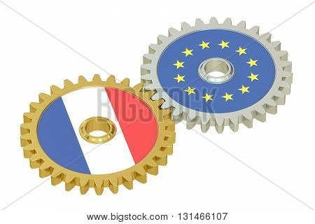 France and EU flags on a gears 3D rendering isolated on white background