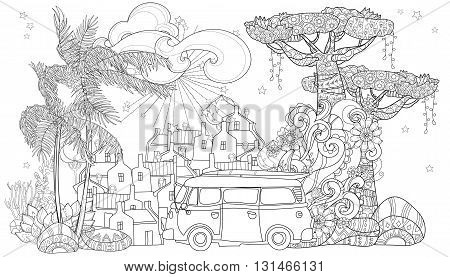 Hand drawn doodle outline palm tree, bus, cartoon city decorated with floral ornaments.Vector zen art illustration.Floral ornament.Sketch for tattoo, poster or adult coloring pages.Boho style.