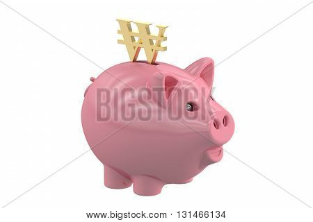 Piggy bank with symbol won 3D rendering isolated on white background