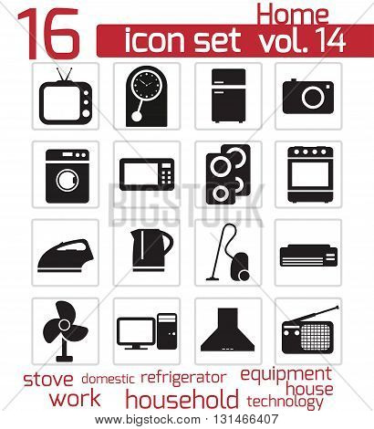 Vector black home appliances icon set on white background