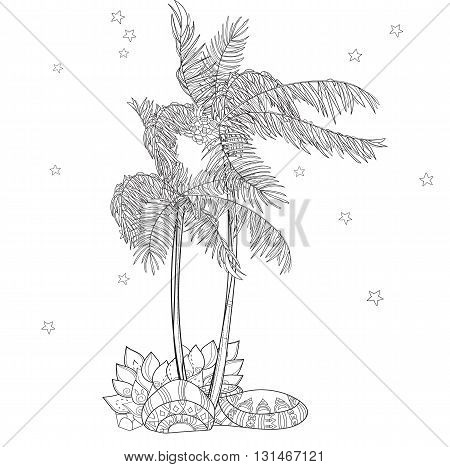 Hand drawn doodle outline palm tree in forest decorated with floral ornaments.Vector zen art illustration.Floral ornament.Sketch for tattoo, poster or adult coloring pages.Boho style.