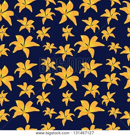 Yellow Flowers On Dark Blue Background