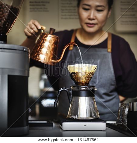 Barista Drip Pouring Apron Cafe Brew Waiterss Concept