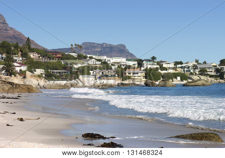 Clifton Beach, With, Houses In Back  Ground, Cape Town South Africa