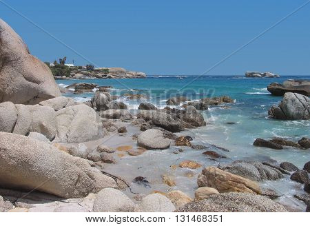 View From Clifton Beach, Boulders In Fore Ground, Cape Town South Africa 17