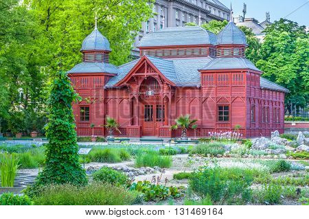 Botanic garden in Zagreb Croatia, pavilion view.