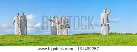 Volokolamsk Russia - 25 May 2016: Panfilov warriors memorial near village Nelidovo near Volokolamsk Moscow region. Built in 1975
