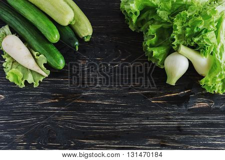 Green Salad, Cucumbers, Zucchini, Squash, And Onion
