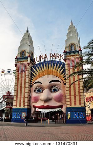 Sydney, Australia - October 19, 2015 - Amusing Luna Park Entrance, Luna Park Is An Amusement Park Lo