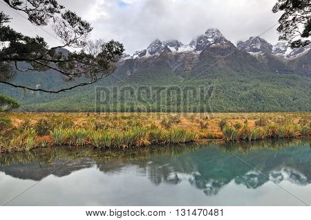 Reflection Of Mountain At The Mirror Lake, New Zealand