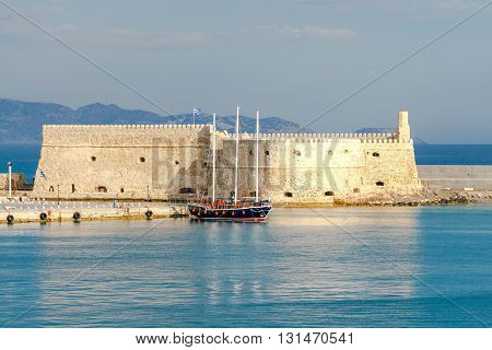 The old Venetian fortifications in the sea port of  Heraklion. Greece. Crete.