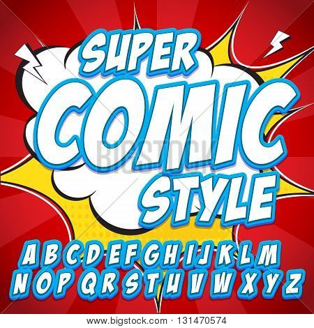 Creative high detail comic font. Alphabet in the blue style of comics, pop art. Letters and figures for decoration of kids' illustrations, websites, posters, comics and banners.