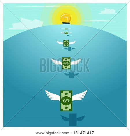 Business concept Idea  Money and Investment ,vector,illustration