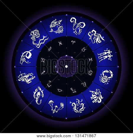 Astrological zodiac circle. Horoscope hand drawn zodiac signs