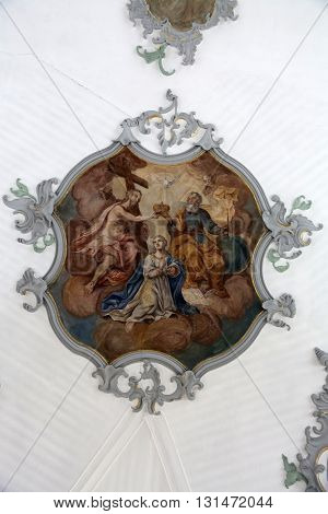 ROSENBERG, GERMANY - MAY 06: Coronation of the Virgin Mary, fresco on the ceiling of the Church of Our Lady of Sorrows in Rosenberg, Germany on May 06, 2014.