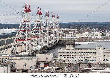 March 2016: City Novocheboksarsk Russia. Cheboksary Hydro Power Station. HPP .RusGidro. March 28 2016