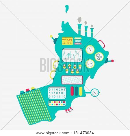Map of Oman like a cute machine with buttons panels and levers. Isolated. White background..