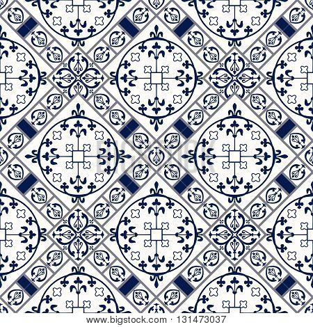 Vector Illustration of Moroccan tiles Seamless Pattern for Design, Website, Background, Banner. Spanish element for Wallpaper, Ceramic or Textile. Middle Ages Ornament Texture Template