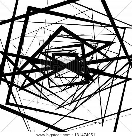 Random Intersecting Lines. Abstract Monochrome Geometric Art.
