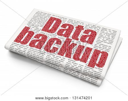 Information concept: Pixelated red text Data Backup on Newspaper background, 3D rendering