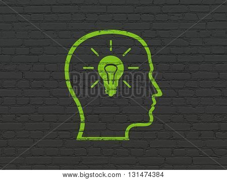Data concept: Painted green Head With Lightbulb icon on Black Brick wall background