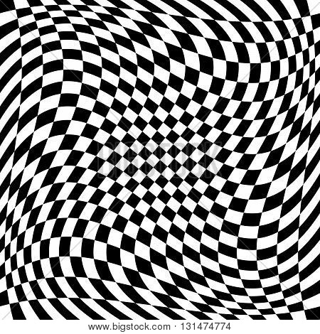 Checkered Pattern With Spiral, Twirl, Swirl Distortion Effect.