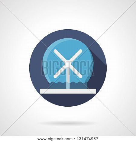 Modern design round fountain. Decoration for urban public places. Fountain water show. Round flat color style vector icon.