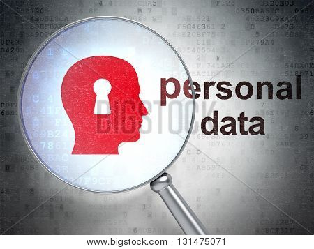Data concept: magnifying optical glass with Head With Keyhole icon and Personal Data word on digital background, 3D rendering