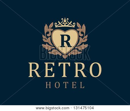 Retro Hotel. Letter emblem R in heart with crown. Vector logo for the hotel the hotel business. Monogram. Outline logo