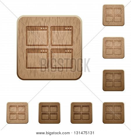 Set of carved wooden mosaic window view mode buttons in 8 variations.