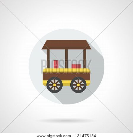 Trolley or cart with brown awning and yellow elements. Ice cream outdoor trade, delivery and sale of frozen foods. City marketing objects. Round flat color style vector icon.