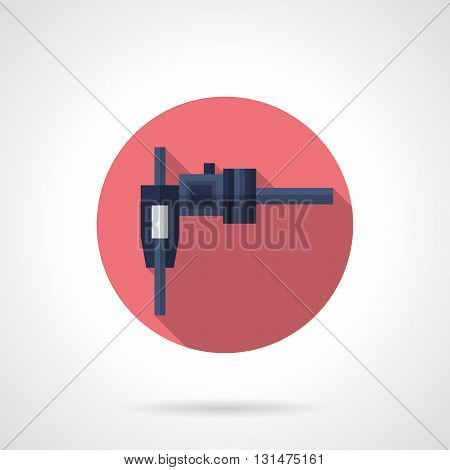 Sliding caliper or steel vernier with long shadow design. Measuring tools for engineering technology, industry, manual quality control.  Round flat color style vector icon.