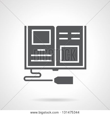 Monochrome silhouette of open book with price tag. Buying books sign for bookshops. Informative literature, textbooks, education. Distribution and marketing. Symbolic black glyph style vector icon.