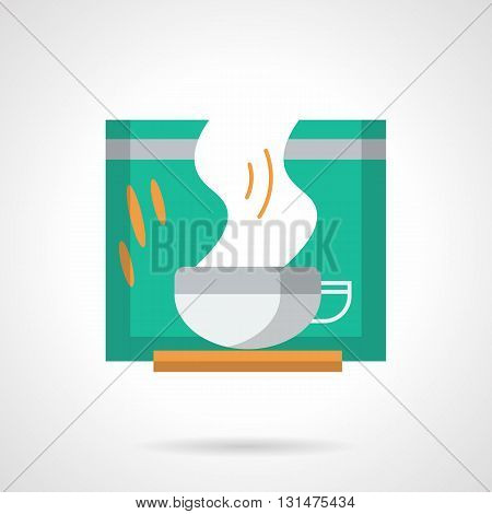 Green packaging and white cup with steam. Hot green tea for breakfast, natural refreshing drink. Healthy food menu for cafe. Flat color design vector icon.