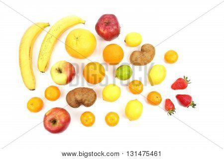 large assortment of fruit on white background