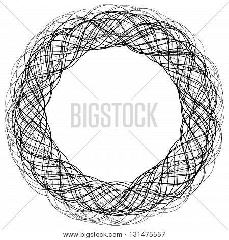 Monochrome Abstract Circular, Irregular  Element On White