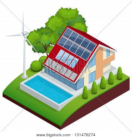 Green House vector concept. Isometric vector composition of small house with ecological equipment solar cells and wind turbine.