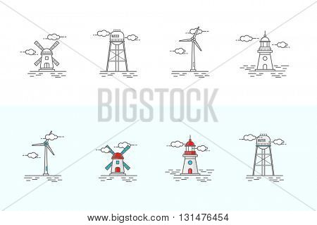 Icons Set in the Style of Line Art. Windmill, Lighthouse, Water Tower and Electric Windmill.