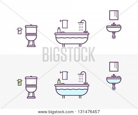 Bathroom Vector Icons Set in the Style of Line Art. toilet, bath, shower, washbasin
