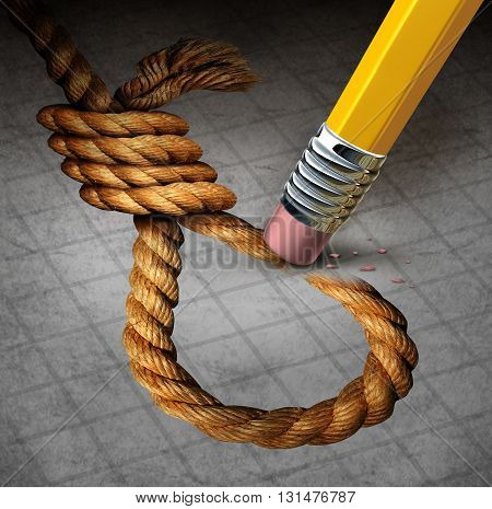 Suicide prevention psychology therapy and psychiatrist or psychologist treatment to stop depressed suicidal people from ending thier lives or hurting themselves as pencil erasing a noose with 3D illustration elements.