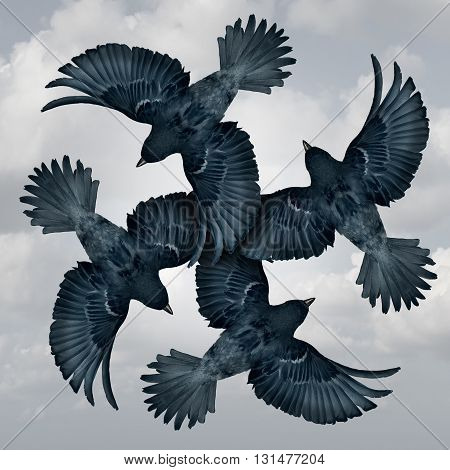 Family circle symbol as a group of coordinated and organized flying birds joining wings together as a trust metaphor for friendship and support as a photo realistic illustration.