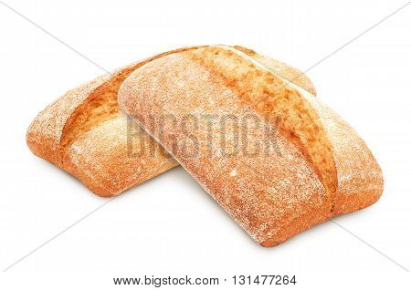 Two freshly baked loaf of traditional italian bread ciabatta isolated on white background. Design element for bakery product label, catalog print, web use.