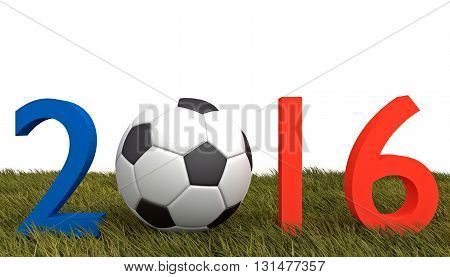 Soccer in France 2016 Tricolor text with football on grass, 3d illustration